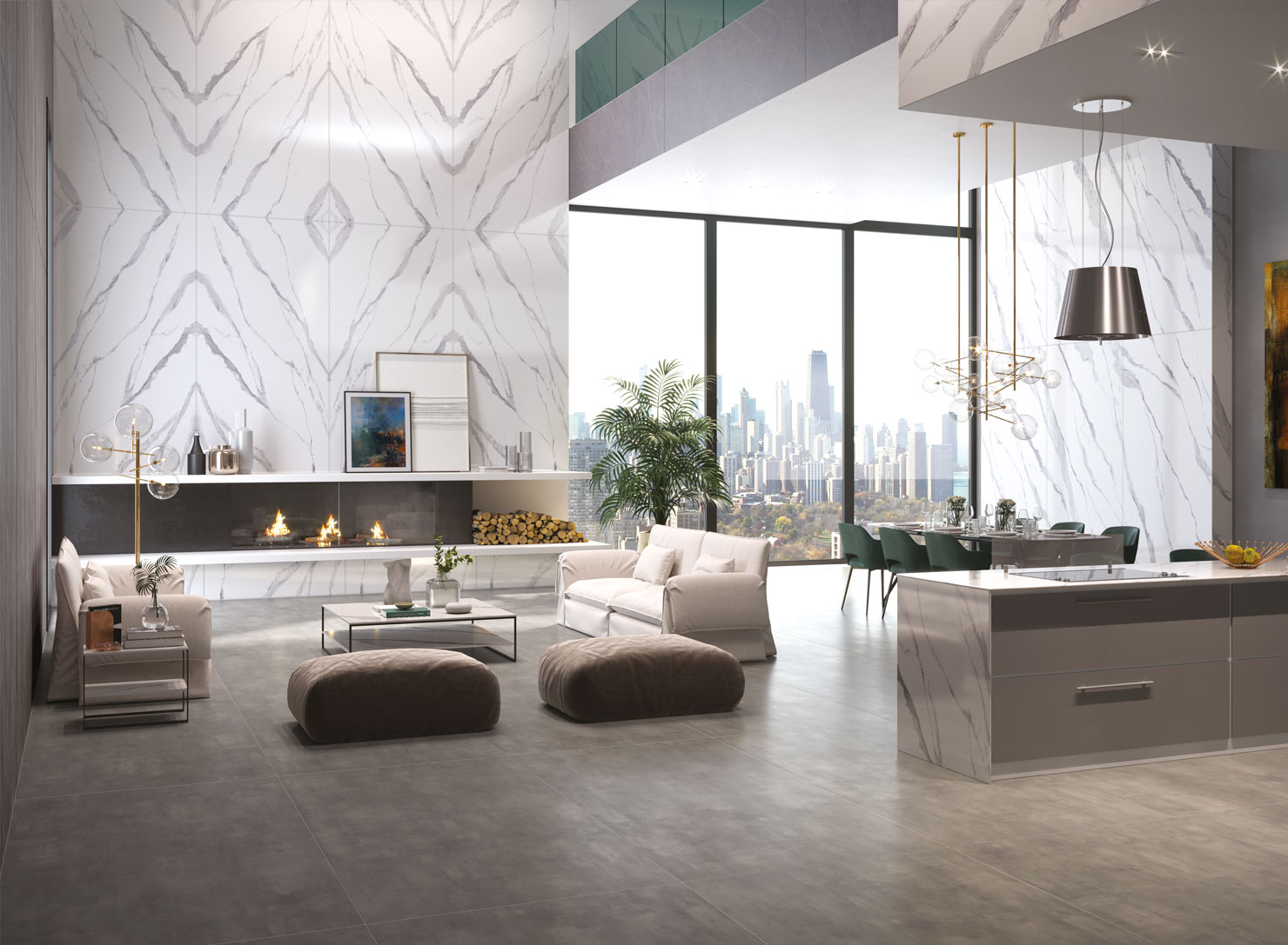 Living room designed with sintered stone slabs by quadra